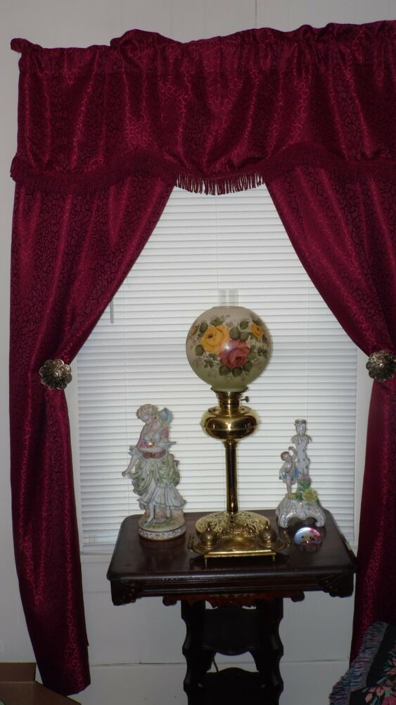 Victorian Burgundy Damask Design Complete Curtain Set W/valance Fringe  57Wx82L | Ebay Inside Spring Daisy Tiered Curtain 3 Piece Sets (View 29 of 30)