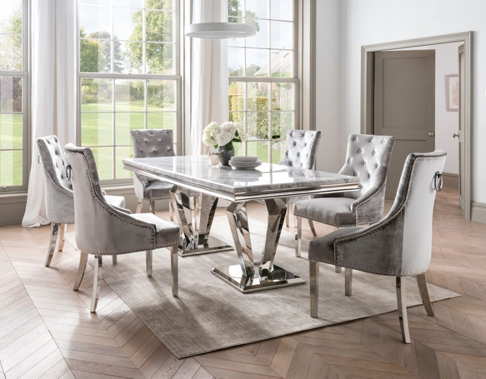 Vida Living Arturo 180Cm Grey Marble And Stainless Steel Chrome Dining  Table With Belvedere Champagne Velvet Chairs With 2020 Chapman Round Marble Dining Tables (#27 of 30)
