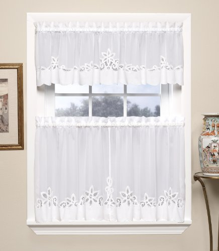 Vine Embroidered Kitchen Window Curtain Set 1 Valance With Within Kitchen Burgundy/white Curtain Sets (View 17 of 50)