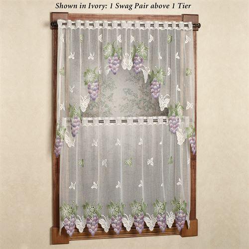 Vineyard Grape Lace Tier Window Treatment Regarding Live, Love, Laugh Window Curtain Tier Pair And Valance Sets (View 50 of 50)