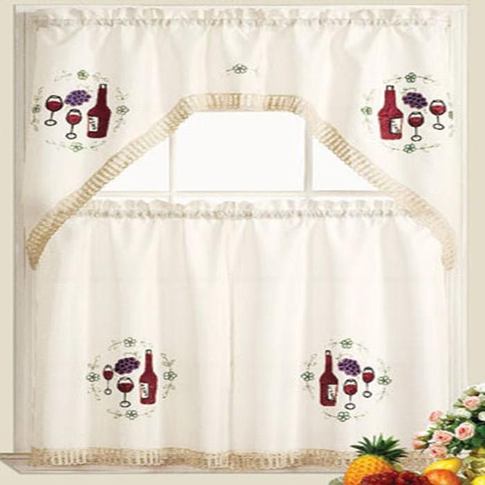 Vineyard Jubilee Kitchen Curtain Set Swag Valance 60 X 36 Within Imperial Flower Jacquard Tier And Valance Kitchen Curtain Sets (#42 of 46)