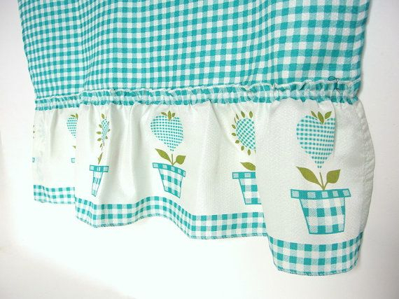 Vintage Aqua / Turquoise Gingham Checked Cafe Curtains And Intended For Bermuda Ruffle Kitchen Curtain Tier Sets (View 47 of 50)
