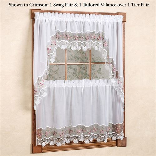 Vintage Embroidered Macrame Semi Sheer Tier Window Treatment Pertaining To Semi Sheer Rod Pocket Kitchen Curtain Valance And Tiers Sets (View 49 of 50)