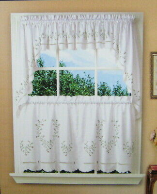 Vintage Lace Crochet Curtainssears 2 Swags 1 Tier Set With Abby Embroidered 5 Piece Curtain Tier And Swag Sets (View 30 of 30)