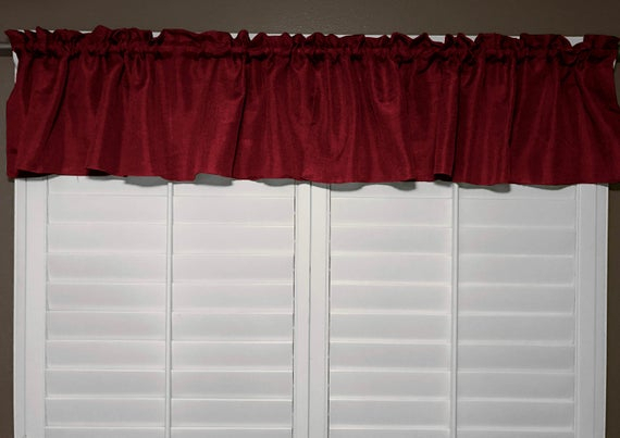 Vintage Linen Valance Solid Burgundy / Window Decor / Window Treatments In Burgundy Cotton Blend Classic Checkered Decorative Window Curtains (View 28 of 30)