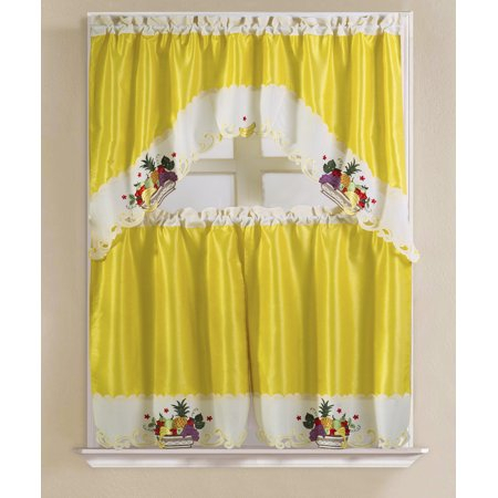 Vintage Pineapple Faux Silk Tier And Swag Kitchen Curtain Within Faux Silk 3 Piece Kitchen Curtain Sets (View 44 of 44)