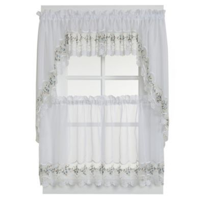 Vintage Sheer Window Curtain Tier Pairs And Valance In White Throughout Sheer Lace Elongated Kitchen Curtain Tier Pairs (#29 of 30)