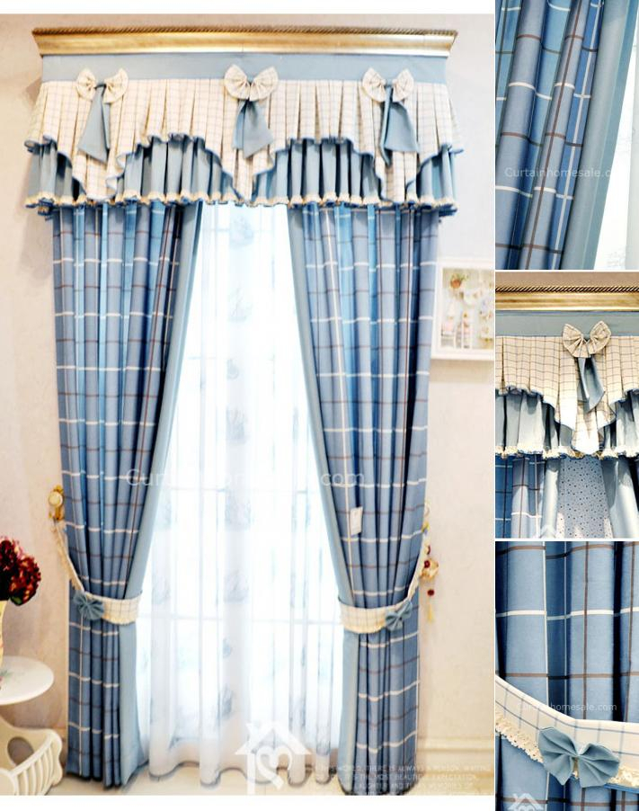 Vintage Style Curtains Brilliant Blue Plaid Lines Striped For Cotton Blend Classic Checkered Decorative Window Curtains (View 27 of 30)