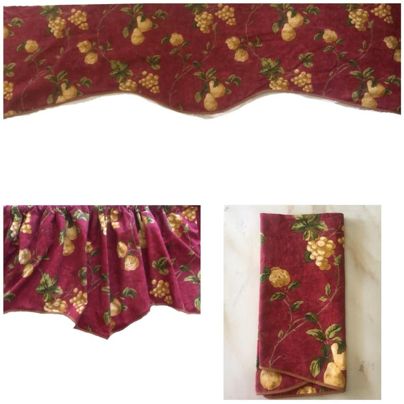 "Vintage Waverly Home Classic Chianti Tuscan Cabernet Yellow Grapes And  Pears Window Valance Curtain 81"" X 22""/3"" Rod Lined With 5 Piece Burgundy Embroidered Cabernet Kitchen Curtain Sets (#49 of 50)"