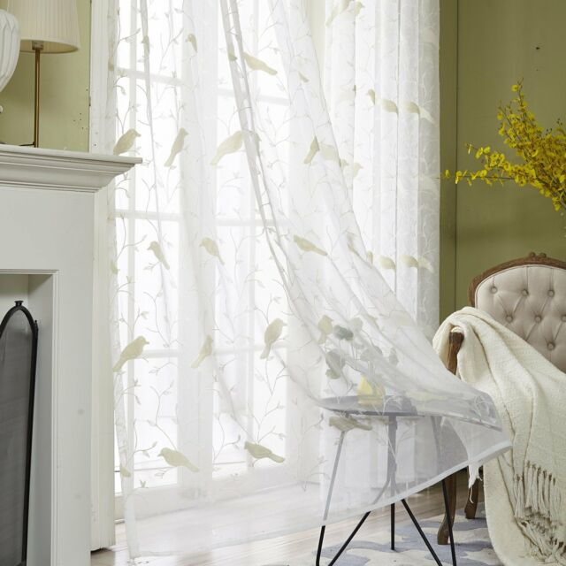 Vogol Rod Pocket Sheer Curtains Elegant Embroidered Bird Design Off White  Window Within Embroidered Rod Pocket Kitchen Tiers (View 42 of 49)