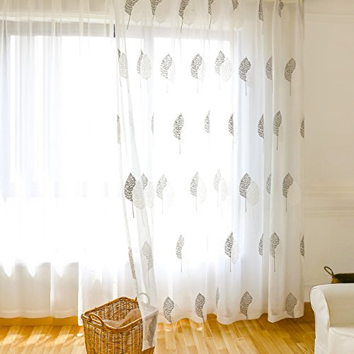 Vogol Sheer Curtains Embroidered Banyan Leaves Design Off White Rod Pocket  Window Drapes/panels For Living Room, 42 X 63,two Panels Within Embroidered Rod Pocket Kitchen Tiers (View 44 of 49)
