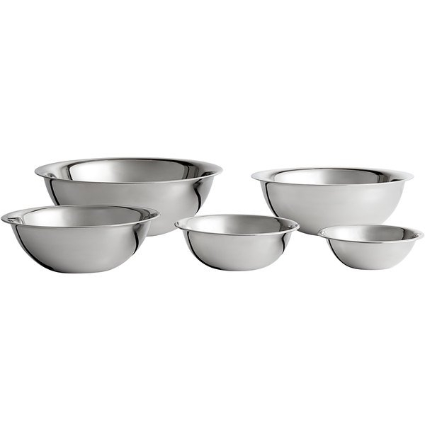 Vollrath 5 Piece Standard Weight Stainless Steel Mixing Bowl Set With Regard To Embroidered Chef Black 5 Piece Kitchen Curtain Sets (View 39 of 42)