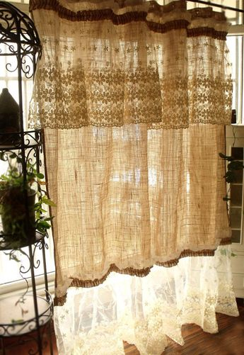 Vorhang Gardine Shabby Chic In Brandenburg – Neustadt (Doss Pertaining To White Tone On Tone Raised Microcheck Semisheer Window Curtain Pieces (#44 of 46)