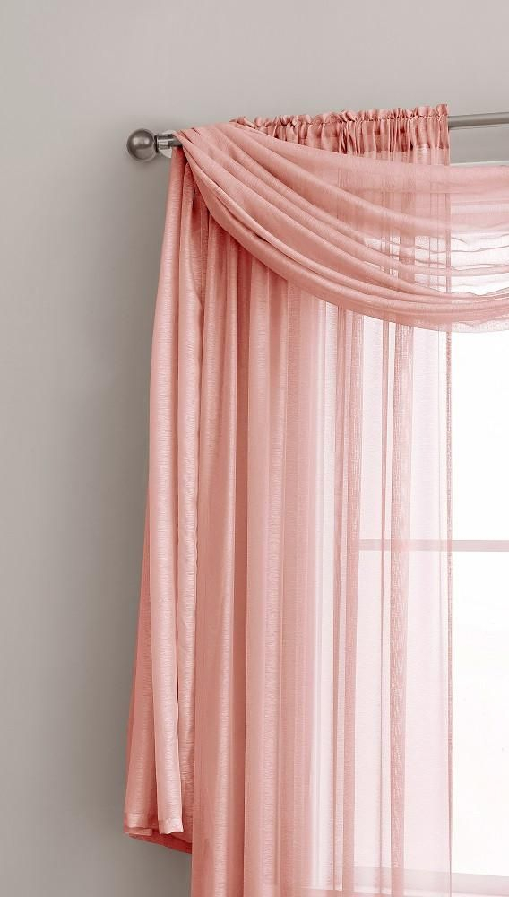 Warm Home Designs Premium Sheer Coral Pink Window Scarves Or For Rod Pocket Cotton Solid Color Ruched Ruffle Kitchen Curtains (#22 of 30)