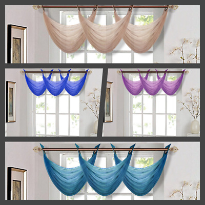 Waterfall Voile Valance Swag Home Decor Bronze Grommet Curtain Solid Colors K36 | Ebay With Regard To Luxury Light Filtering Straight Curtain Valances (View 11 of 47)