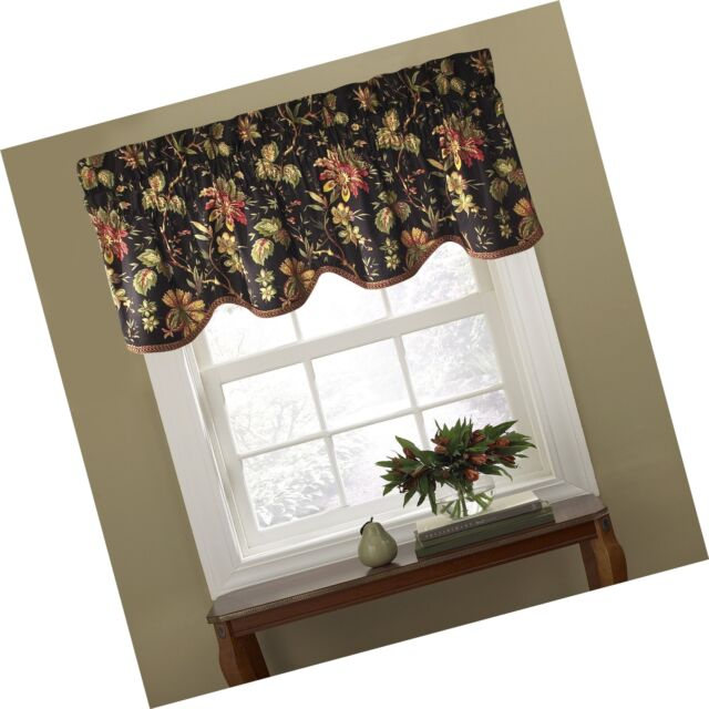 Waverly 10982050X015No Felicite 50 Inch15 Inch Window Valance Noir Pertaining To Waverly Felicite Curtain Tiers (View 21 of 45)