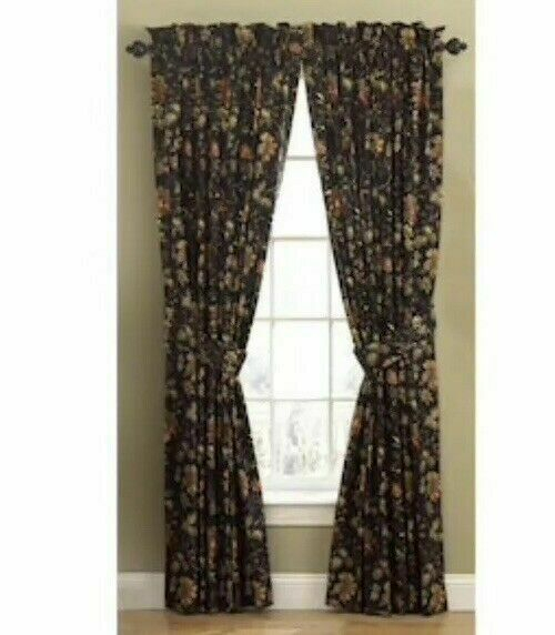 """Waverly 50"""" X 84"""" Noir Felicite Rod Pocket Curtain Panel 0329335 With Waverly Felicite Curtain Tiers (View 4 of 45)"""