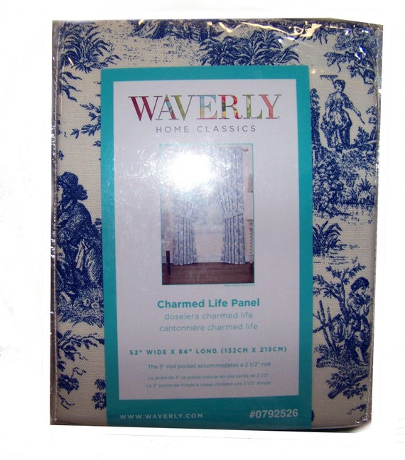 Waverly Blue Charmed Life Toile Curtain Panel With Tieback New Discontinued  Pattern With Regard To Waverly Felicite Curtain Tiers (View 24 of 45)