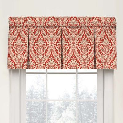 Waverly Donnington Damask Box Pleat Cotton Valance In Regarding Pleated Curtain Tiers (View 39 of 50)