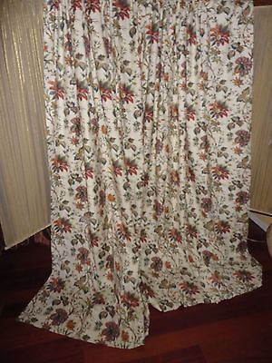 Waverly Felicite Creme Red Green Cinnamon Floral (Pair) Fabric Panels 46 X  80 | Ebay Throughout Waverly Felicite Curtain Tiers (View 30 of 45)