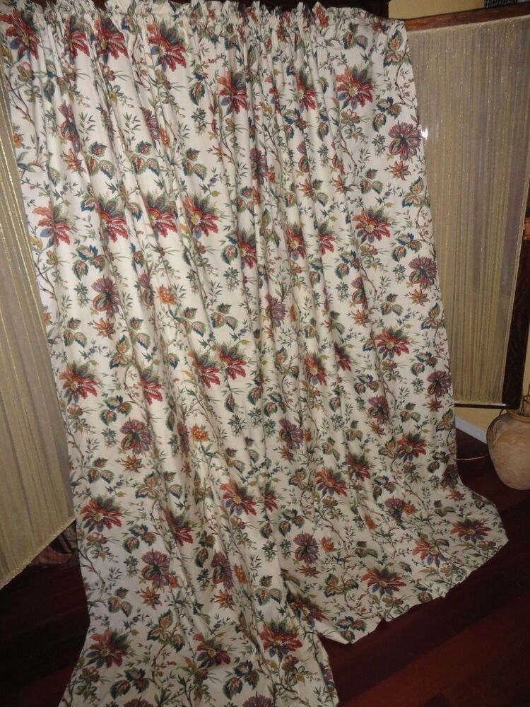 Waverly Felicite Creme Red Green Cinnamon Floral (pair With Waverly Felicite Curtain Tiers (View 10 of 45)