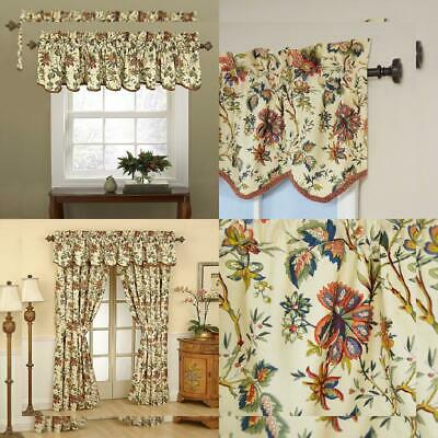 Waverly Felicite Curtain Valance Jacobean Floral Pattern With Regard To Waverly Felicite Curtain Tiers (View 20 of 45)