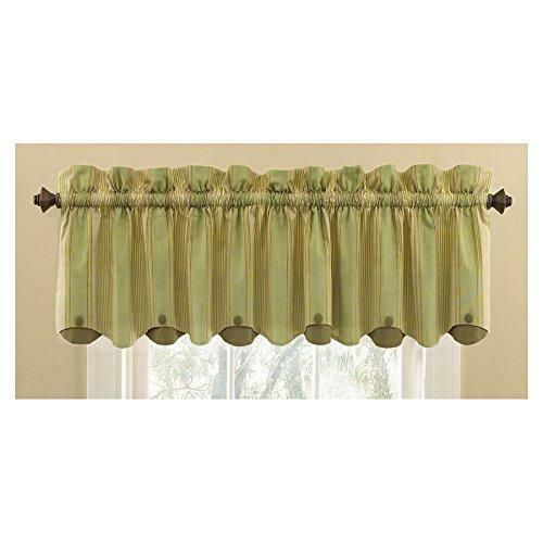 Waverly Home Classics 15 In Sage Cotton Rod Pocket Valance Pertaining To Linen Stripe Rod Pocket Sheer Kitchen Tier Sets (#45 of 46)
