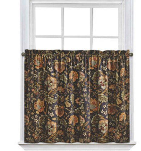 Waverly Imperial Dress Rod Pocket Tier Pair Onyx 52X24 For Regarding Imperial Flower Jacquard Tier And Valance Kitchen Curtain Sets (View 30 of 46)