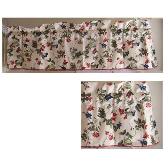 Waverly Orchard Trail Valance Red Gingham Trim Regarding Waverly Felicite Curtain Tiers (#40 of 45)