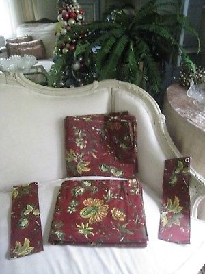"""Waverly ~(Pair) Floral """"felicite"""" Curtain Panels W/ Tie Backs 