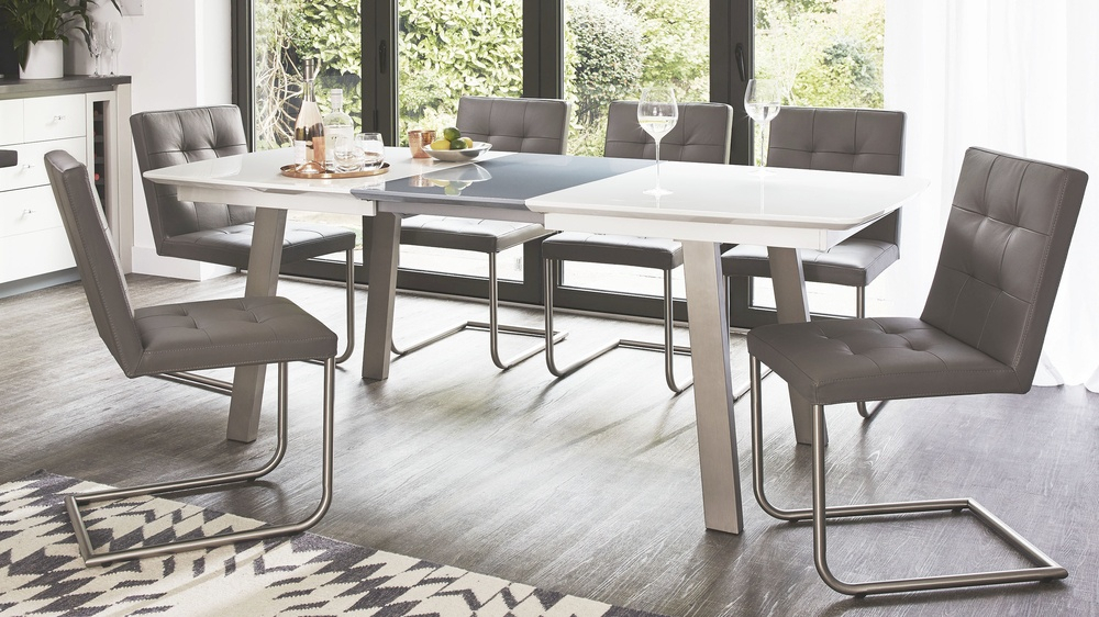 Well Known Assi White And Grey Gloss Extending Dining Table With Faye Extending Dining Tables (#20 of 20)