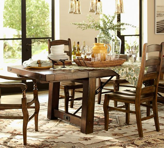 Well Known Benchwright Extending Dining Table, Alfresco Brown For Rustic Mahogany Extending Dining Tables (View 9 of 30)