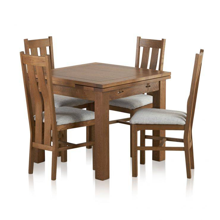 Well Known Furniture Dining Room Rustic Solid Oak Set Extending Table For Rustic Mahogany Extending Dining Tables (View 25 of 30)
