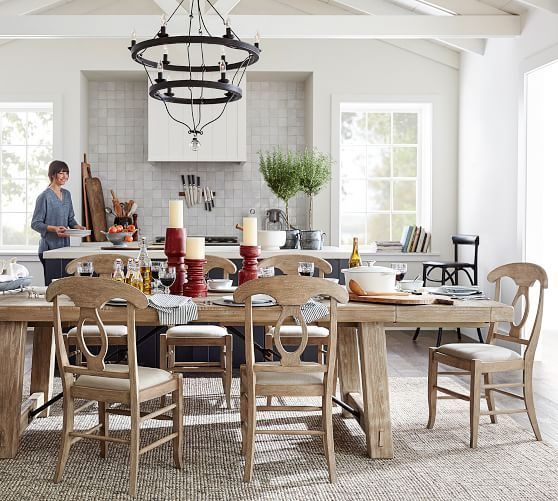 Well Known Gray Wash Toscana Extending Dining Tables Throughout Benchwright Extending Dining Table, Seadrift (#19 of 20)