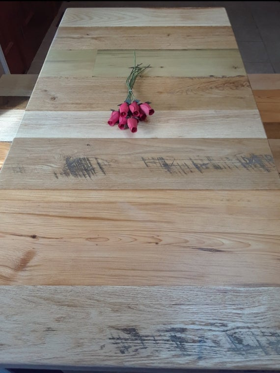 Well Known Herran Dining Tables Regarding Reverse Butcherblock 5' Benches & Table Farmhouse Dining Set, Table And  Benches, Modern Industrial Style (#19 of 20)