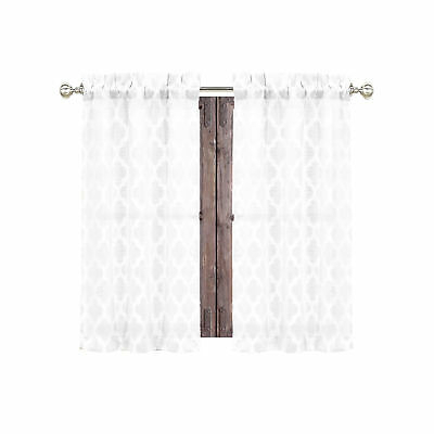 White 2 Piece Curtain Café Tier Set Textured Moroccan Intended For Elegant White Priscilla Lace Kitchen Curtain Pieces (View 27 of 30)