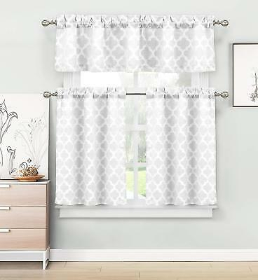 White 3 Piece Kitchen Curtains Valance & Tiers Cafe Curtains In Geometric Print Microfiber 3 Piece Kitchen Curtain Valance And Tiers Sets (View 24 of 30)