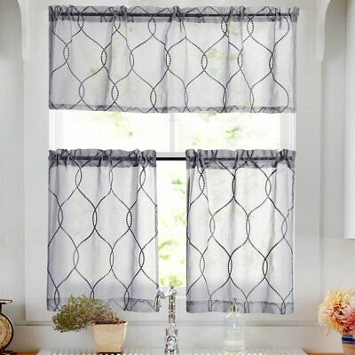 White 3 Piece Kitchen Curtains Valance & Tiers Cafe Curtains Pertaining To Solid Microfiber 3 Piece Kitchen Curtain Valance And Tiers Sets (#46 of 50)