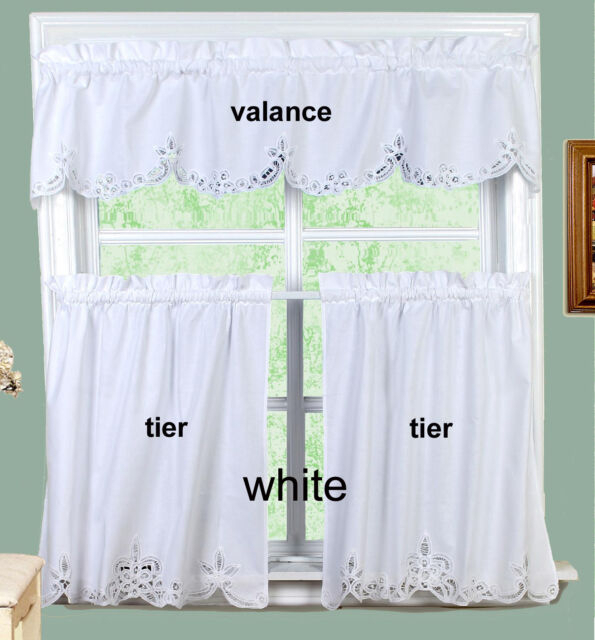 White Battenburg Lace Kitchen Curtain Valance Or Tiers Creative Linens Within White Knit Lace Bird Motif Window Curtain Tiers (View 44 of 50)