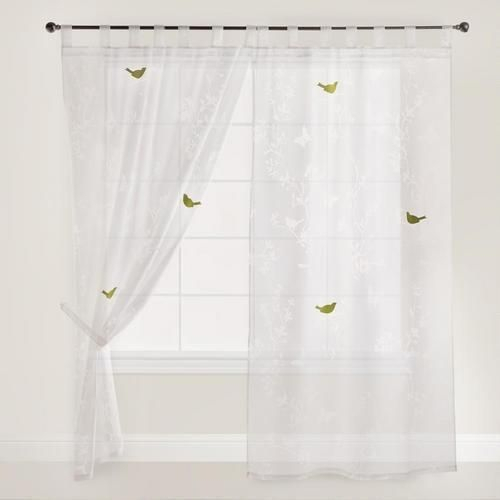 White Bird And Botanical Burnout Curtain In Grace Cinnabar 5 Piece Curtain Tier And Swag Sets (View 17 of 30)