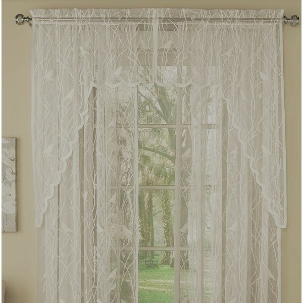 White Bird Valance | Wayfair Throughout Ivory Knit Lace Bird Motif Window Curtain (View 43 of 50)