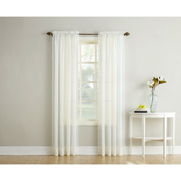White Crushed Voile Curtains | Wayfair With Elegant Crushed Voile Ruffle Window Curtain Pieces (View 43 of 45)