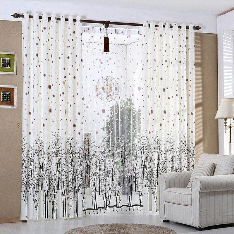 White Curtains For Living Room Rustic Kitchen Curtains Beaded Snowy Plants  Black Trees Window Treatment/drapes Custom Made Throughout Rustic Kitchen Curtains (#30 of 30)