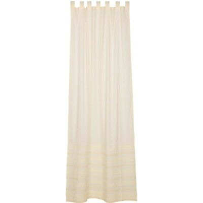 White Farmhouse Curtains Vhc Jasmine Panel Tab Top Cotton With Regard To Rod Pocket Cotton Solid Color Ruched Ruffle Kitchen Curtains (#25 of 30)
