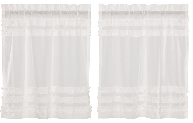 White Farmhouse Kitchen Curtains Tier Rod Pocket Cotton Solid Color Sheer,  Set O In Rod Pocket Cotton Solid Color Ruched Ruffle Kitchen Curtains (#29 of 30)