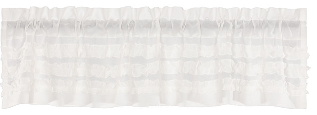White Farmhouse Kitchen Curtains Valance Rod Pocket Cotton Solid Color Sheer In Rod Pocket Cotton Solid Color Ruched Ruffle Kitchen Curtains (#30 of 30)