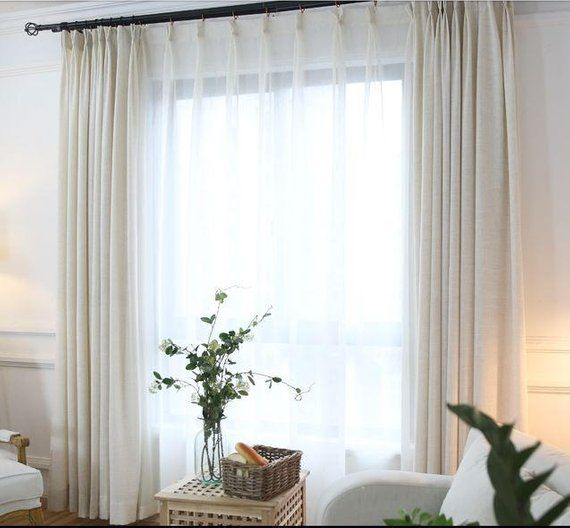 White Flax Blend Linen Drapes, Custom Linen Curtains In 2019 Inside Rod Pocket Cotton Linen Blend Solid Color Flax Kitchen Curtains (View 30 of 30)