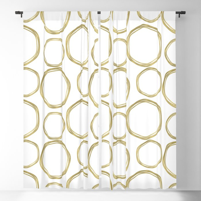 White & Gold Circles Blackout Curtainchristyne Pertaining To Circle Curtain Valances (View 30 of 30)