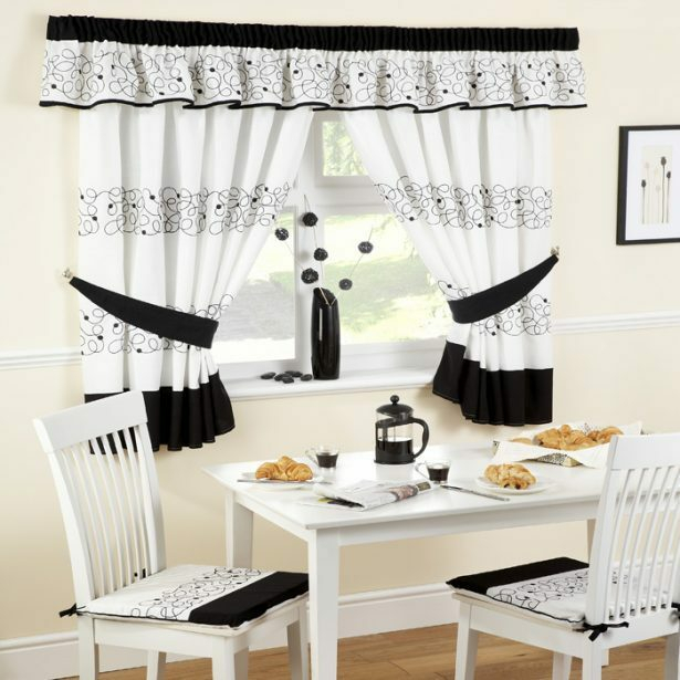 White Kitchen Curtains – V9Oj In Solid Microfiber 3 Piece Kitchen Curtain Valance And Tiers Sets (#48 of 50)