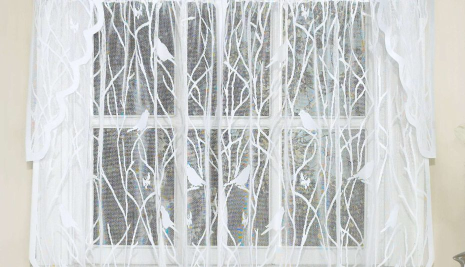 White Knit Lace Bird Motif Window Curtain Tiers Valance And Regarding Pleated Curtain Tiers (View 45 of 50)
